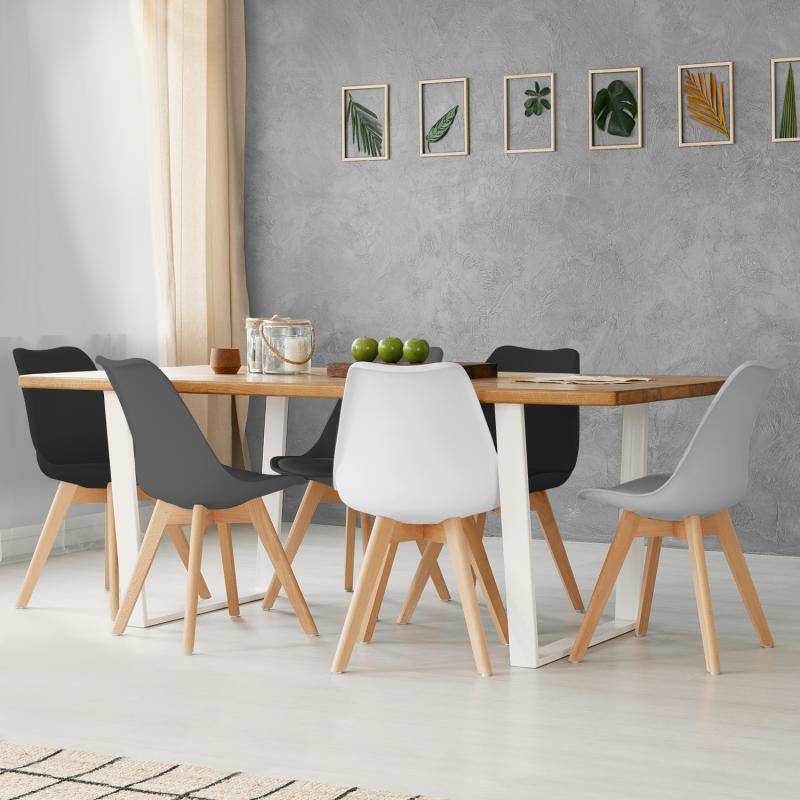"""IDMarket """"Lot de 6 chaises SARA mix color gris clair, blanc, gris foncé x2, noir x2"""""""
