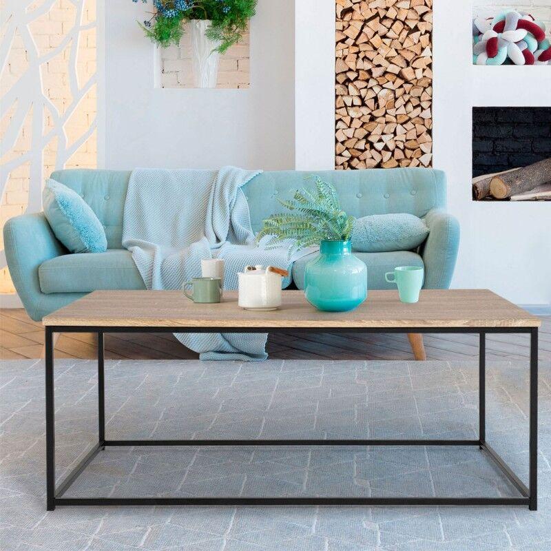 """IDMarket """"Table basse DETROIT design industriel bois et métal noir"""""""