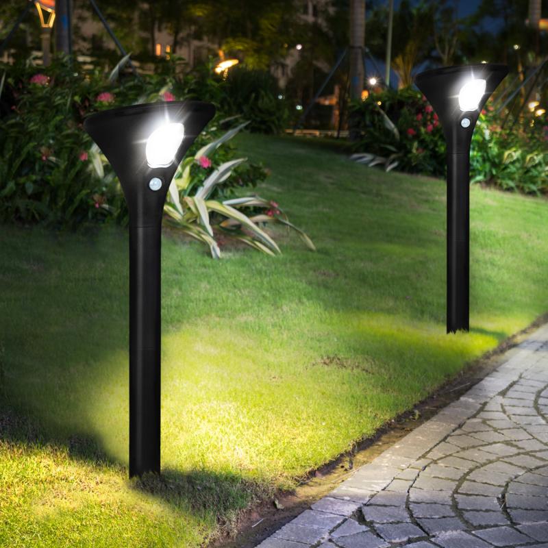 IDMarket Lot de 2 lampes solaires LED 2 en 1 avec détecteur de mouvement
