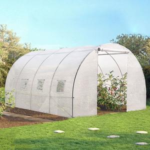 IDMarket Serre tunnel de jardin 12 m² blanche gamma maraichère ZEBRA 4x3 m - Publicité