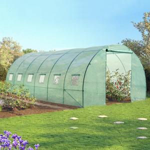 """ProBache """"Grande serre de jardin tunnel 7 arceaux Pro galvanisé 18m² 6x3x2m verte"""" - Publicité"""