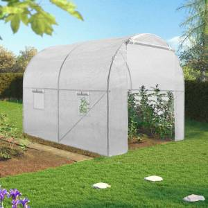 IDMarket Serre tunnel de jardin 6M² blanche gamme maraichère ROMA 2x3M - Publicité