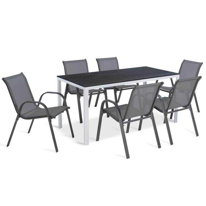 """IDMarket """"Table de jardin SUNY 156 cm blanc et gris foncé"""""""