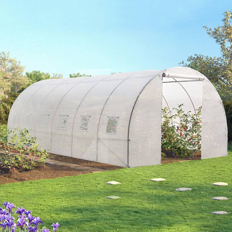 ProBache 'Serre tunnel de jardin 18m² blanche gamme maraichère CRIMÉE 6x3M'