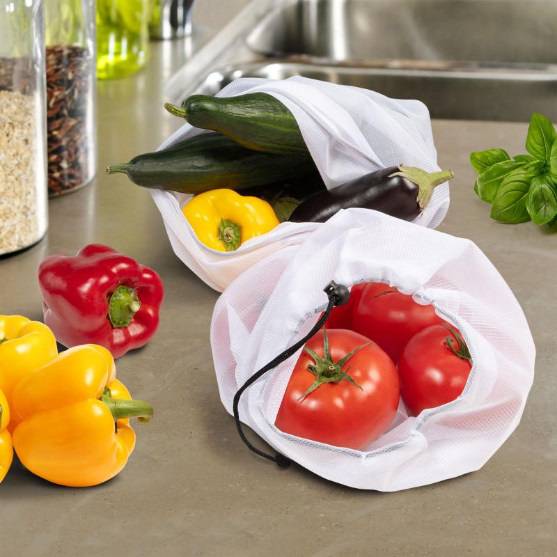 """IDMarket """"Lot de 10 sacs alimentaires fruits et légumes réutilisables 3 tailles"""""""