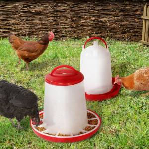 """IDMarket """"Lot mangeoire 3 kg et abreuvoir 3L pour poules et volailles"""" - Publicité"""