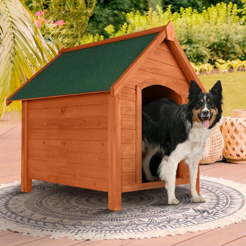 idmarket niche en bois xxl surélevée pour chiens toit ouvrant