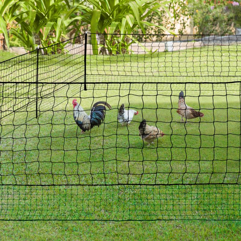 IDMarket Kit clôture filet à poules 12M avec porte 6 piquets double pointe