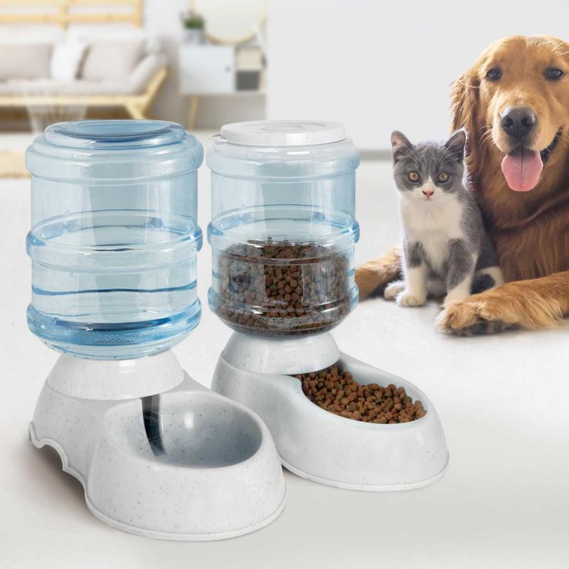 """IDMarket """"Lot de 2 distributeurs automatiques croquettes et eau 3,75 L pour chien et chat"""""""