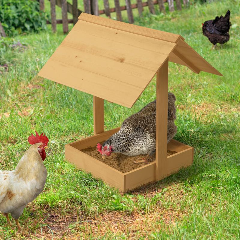 """IDMarket """"Bain de poussière pour poules bac en bois antiparasites avec toit"""""""