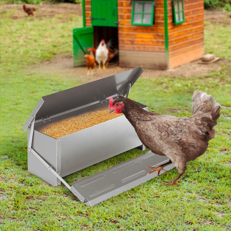 IDMarket Mangeoire XXL pour poules distributeur automatique à pédale en acier 10 kg