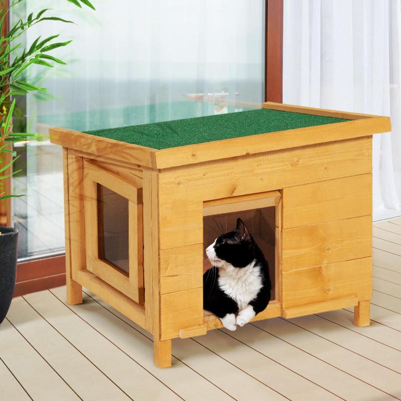 IDMarket Maison pour chat niche en bois avec porte à lamelles
