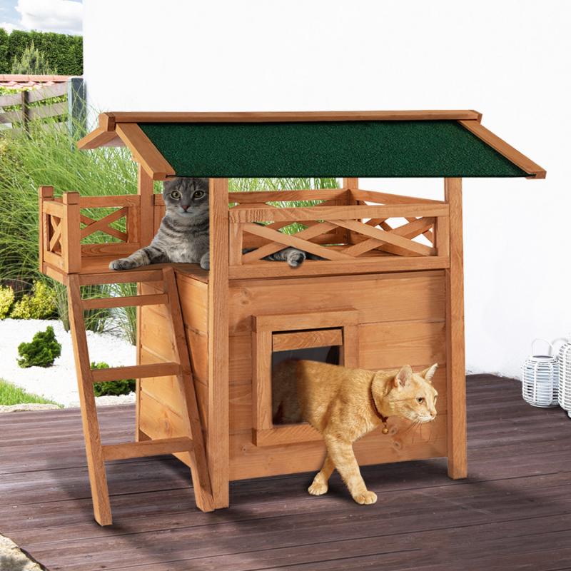 IDMarket 'Maison pour chat lodge en bois avec accès terrasse'