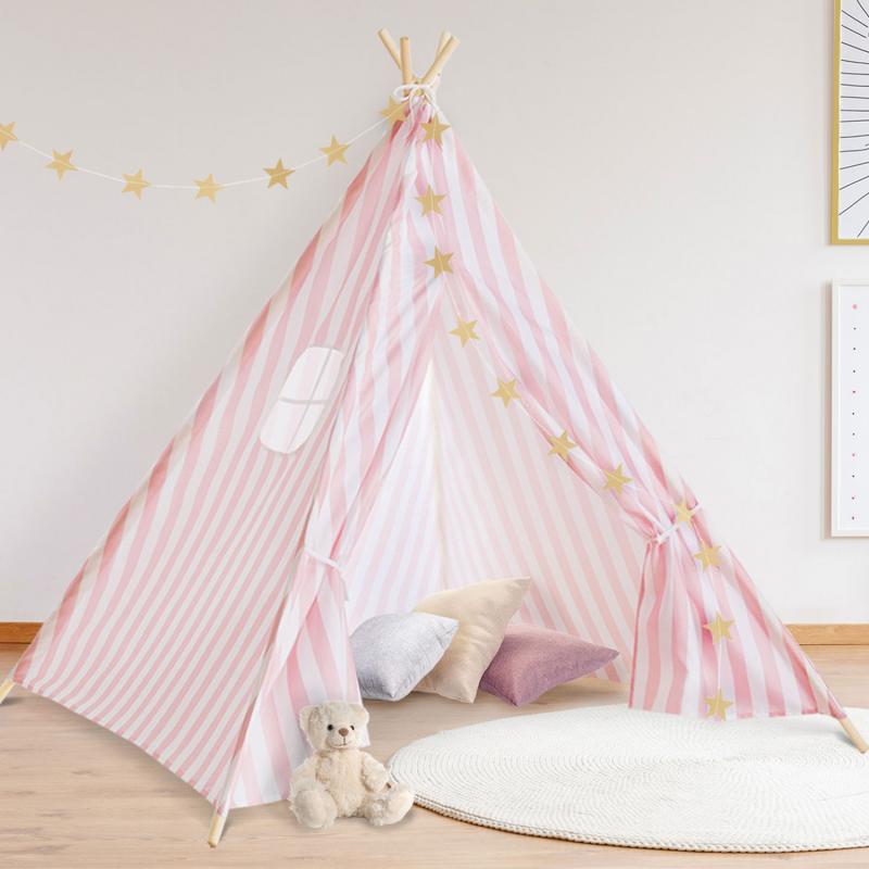 IDMarket Tipi d'indien rayé rose tente de jeux pour enfant
