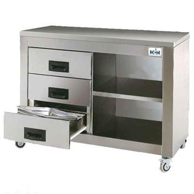 MCM ESPAGNE Armoire inox avec tiroirs et étagère pour rôtissoires MCM