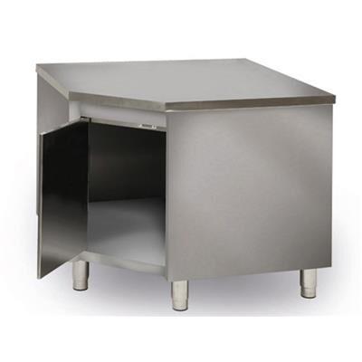 QDM Meuble d'angle inox bas central P 600 mm