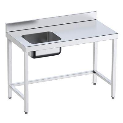 QDM Table de préparation avec bac à gauche sur support P 600 mm