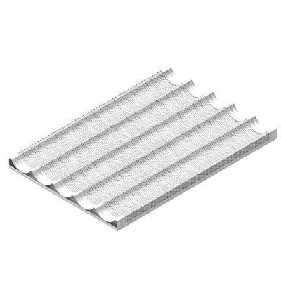 EKA Plaque de cuisson en aluminium perforé à 5 canaux ondulés - EN 60/40
