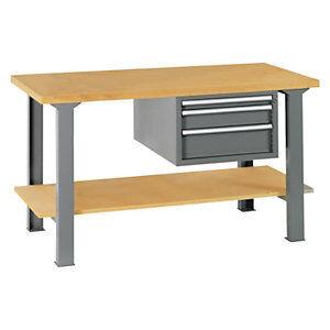 Établi d'atelier en bois avec bloc 3 tiroirs et plateau inférieur