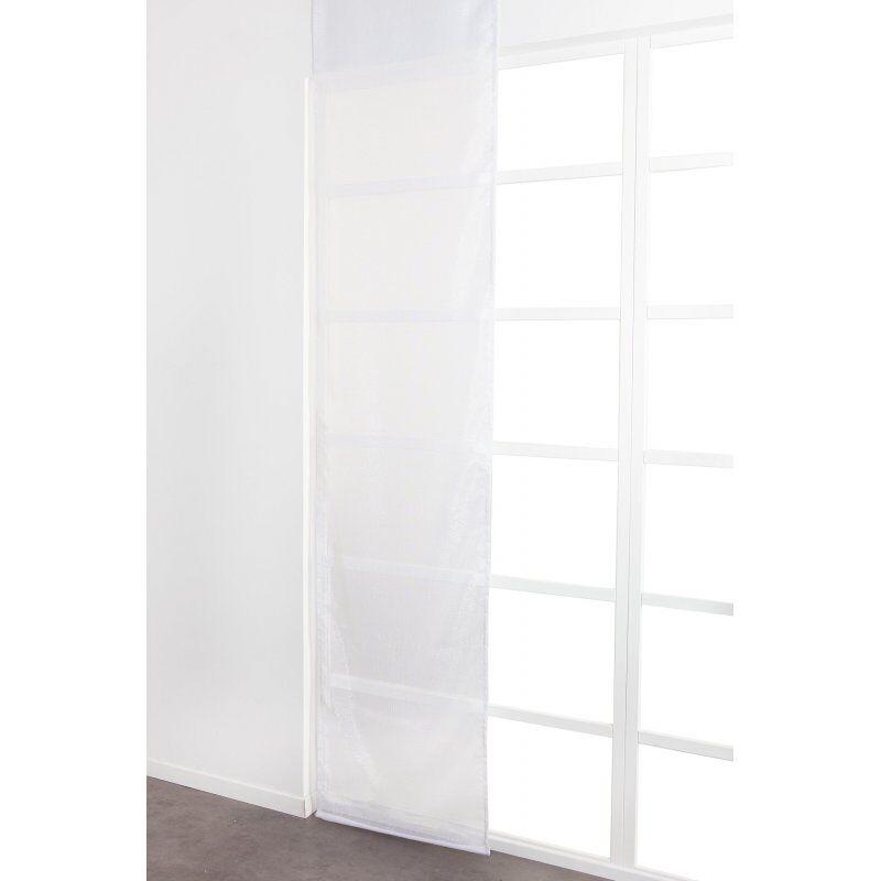 Panneau Japonais 60 x 300 cm à Scratch Grande Hauteur Fil Lurex Argenté Tissé Uni Blanc