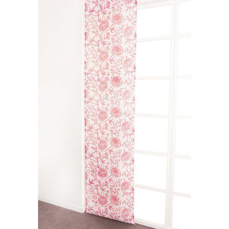 Panneau Japonais 60 x 300 cm à Scratch Grande Hauteur Effet Lin Imprimé Motif Floral Rouge