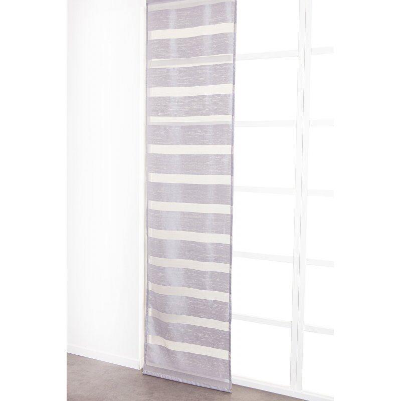 Panneau Japonais 60 x 300 cm à Scratch Grande Hauteur Effet Naturel Bandes Horizontales Tissées Gris
