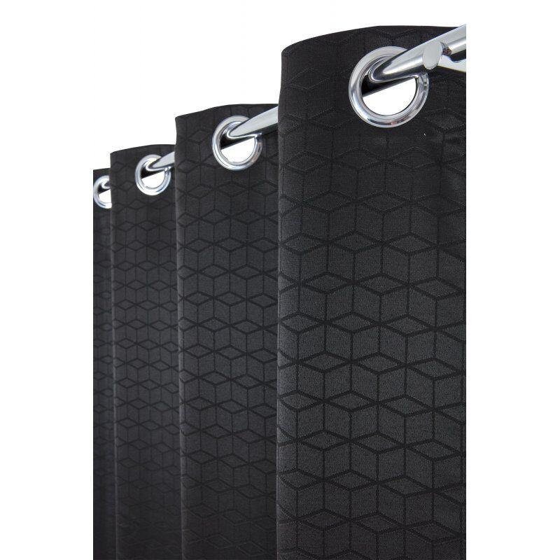 Rideau Tamisant 135 x 250 cm à Oeillets Jacquard Polycoton Motif Cubes Ton sur Ton Noir