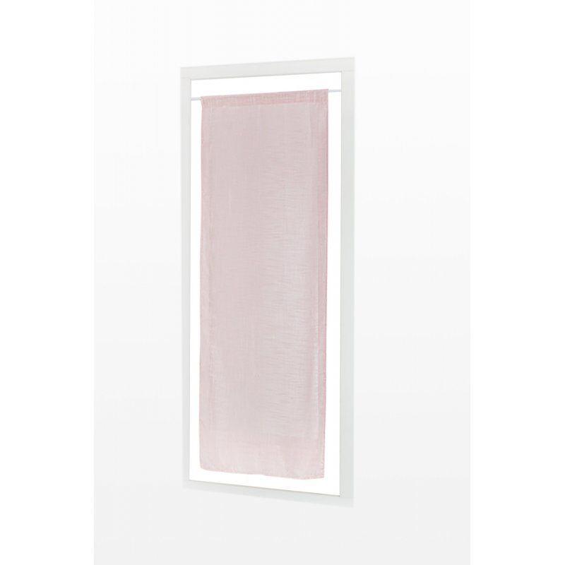 Vitrage 45 x 150 cm Passe Tringle Effet Lin Uni Rose Clair