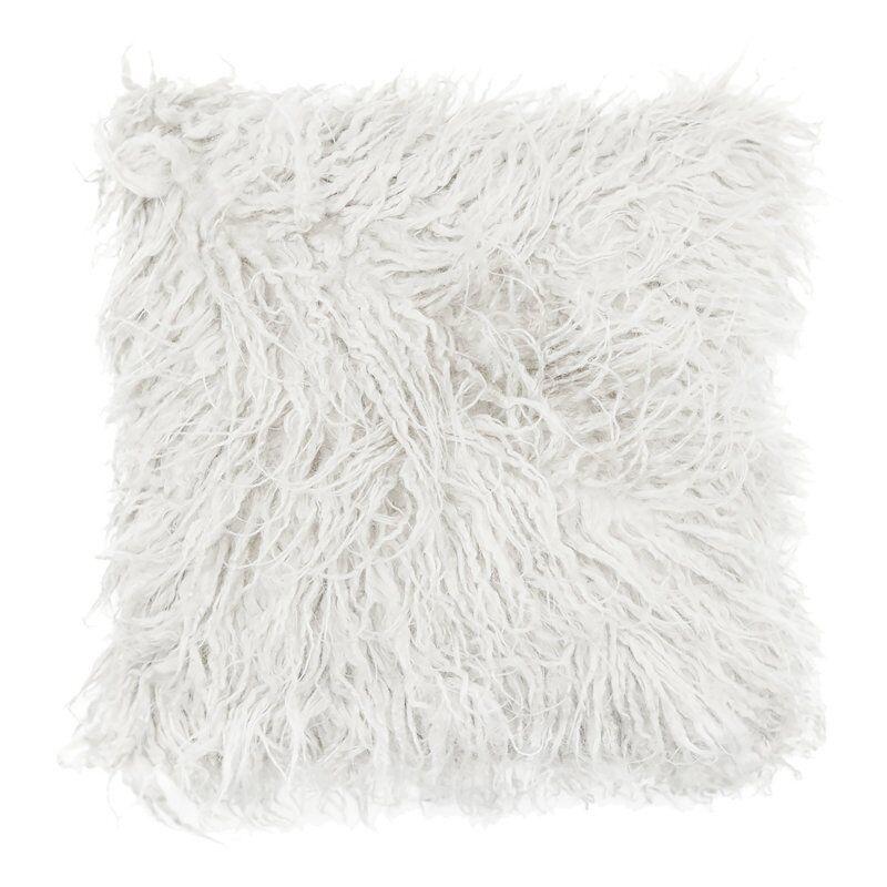 Housse de Coussin Déhoussable 40 x 40 cm Imitation Peau de Mouton Blanc