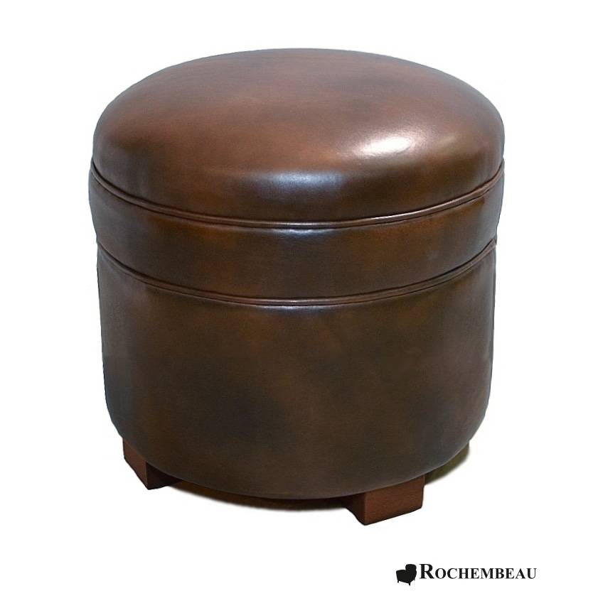 Rochembeau Pouf Rond en cuir - Marron foncé-chocolat (E1)