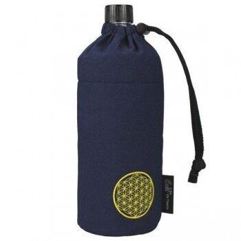Emil Die Flasche Grande gourde en verre isotherme avec Housse, 0.75 litre Motif Bleu rond jaune
