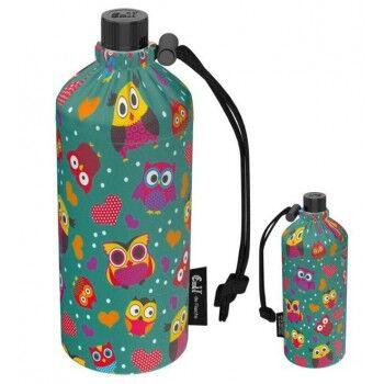 Emil Die Flasche Gourde en verre Enfant 0,4l housse avec jolis motifs Motif Hibou