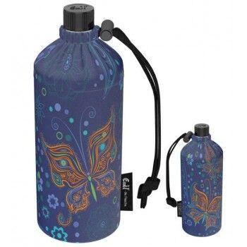 Emil Die Flasche Gourde en verre Enfant 0,4l housse avec jolis motifs Motif Papillon