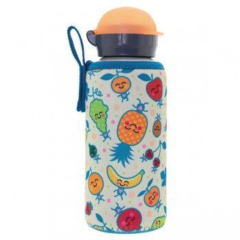 Laken Gourde enfant alu et sa housse neoprene 0,45 litre, Laken Motif Fruits