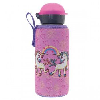 Laken Gourde enfant alu et sa housse neoprene 0,45 litre, Laken Motif Licorne rose