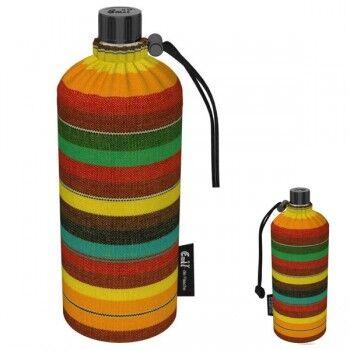 Emil Die Flasche Gourde en verre isotherme 0.6 litre Motif Rayé Marron Orange
