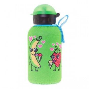 Laken Gourde enfant inox isotherme avec housse neoprene 0.35 litre, Laken Motif Banane et fraise