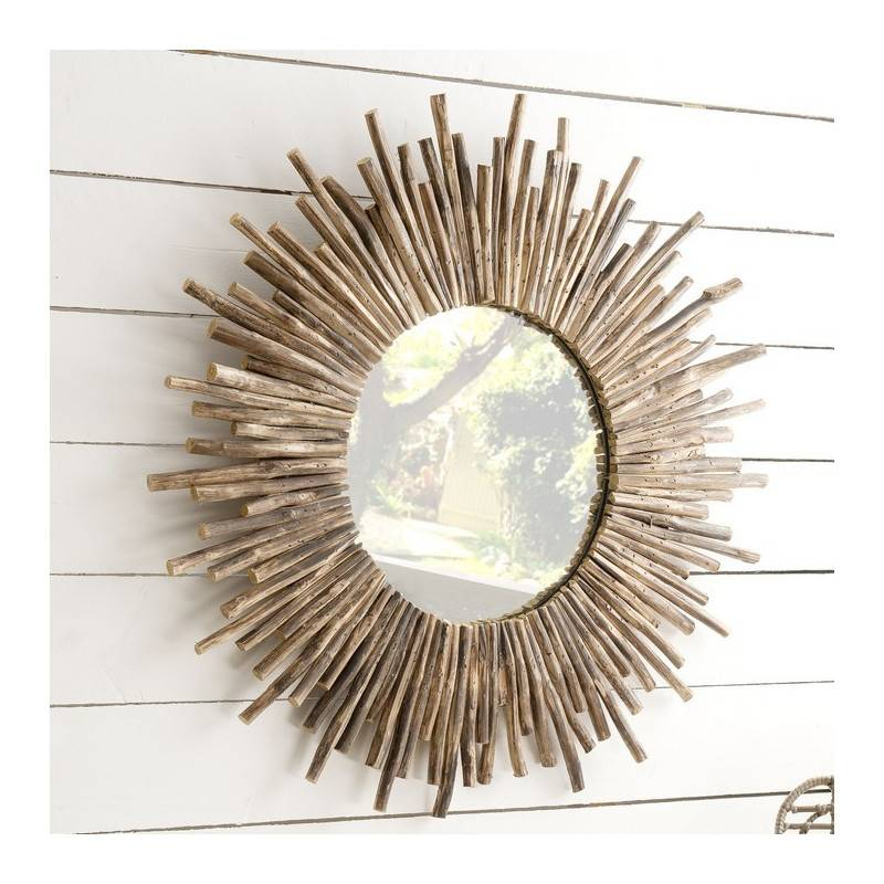SO INSIDE Miroir rond en branches de teck 90cm Woody