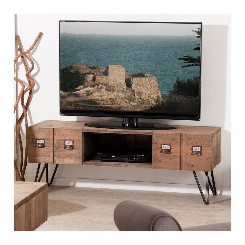 SO INSIDE Meuble TV industriel métal et bois Orianne