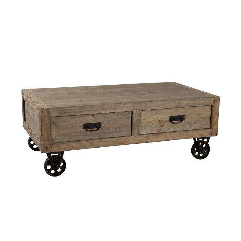 SO INSIDE Table basse industrielle sur roulette avec tiroirs Orianne
