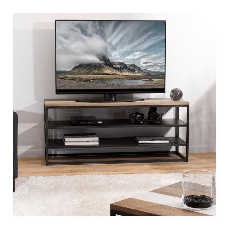 SO INSIDE Meuble TV design industriel bois et métal Léon