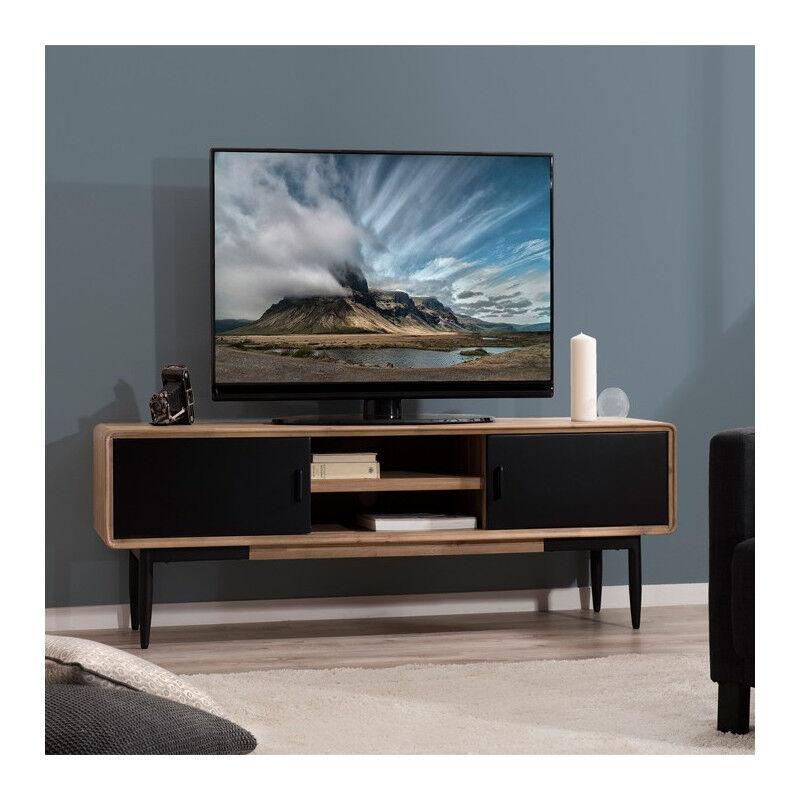 SO INSIDE Meuble TV industriel noir et bois Olana
