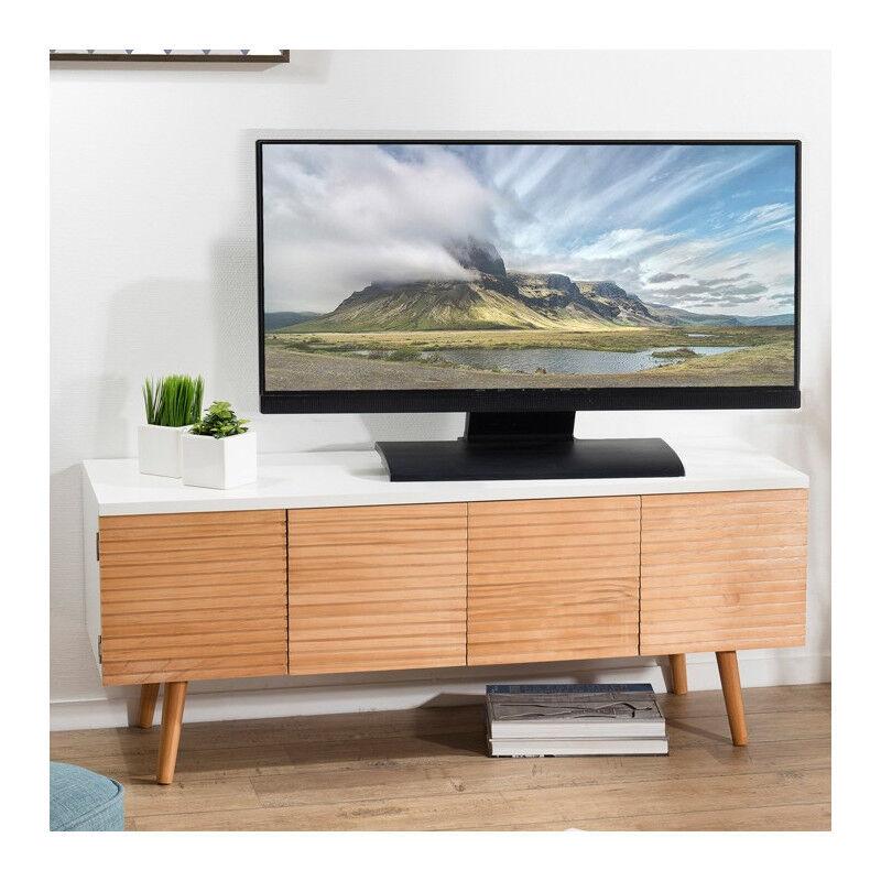 SO INSIDE Meuble TV scandinave bois et blanc Ella