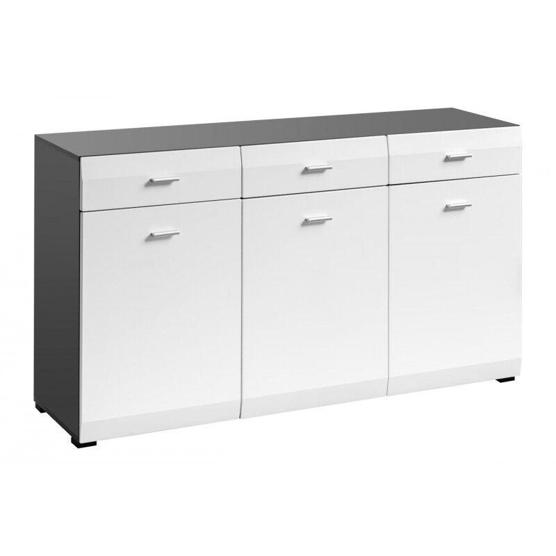 SO INSIDE Buffet 3 portes 3 tiroirs blanc et gris mat Zao