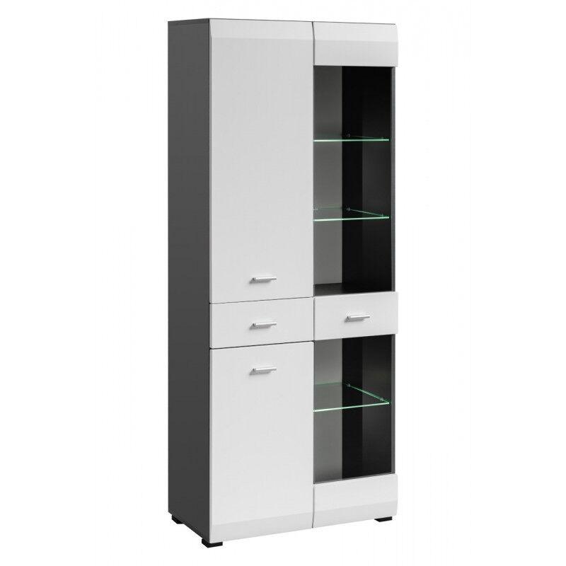 SO INSIDE Vitrine 2 portes 1 tiroir blanc et gris mat Zao