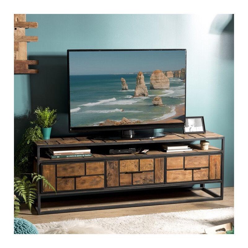 SO INSIDE Grand meuble TV industriel teck et métal 160x40cm Tinesixe