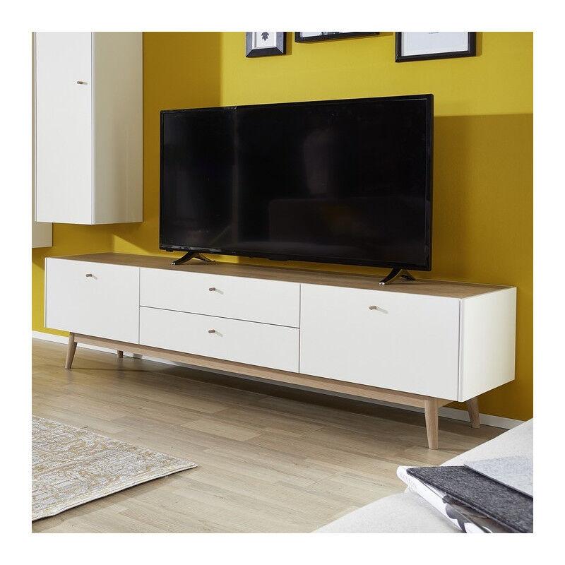 SO INSIDE Meuble TV scandinave blanc et bois clair Heavy