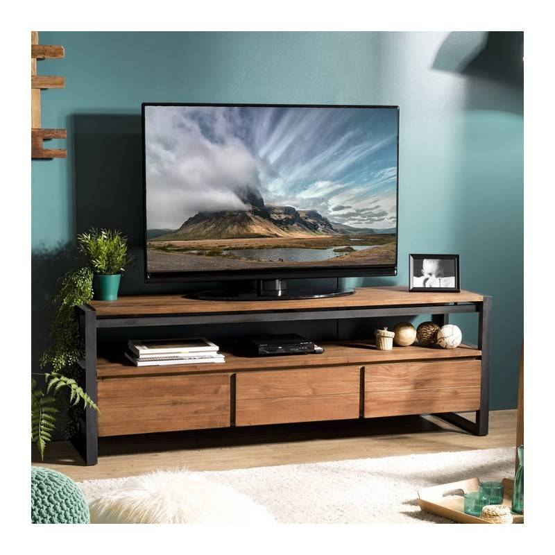 SO INSIDE Meuble TV design industriel teck et métal 160x40cm Tinesixe