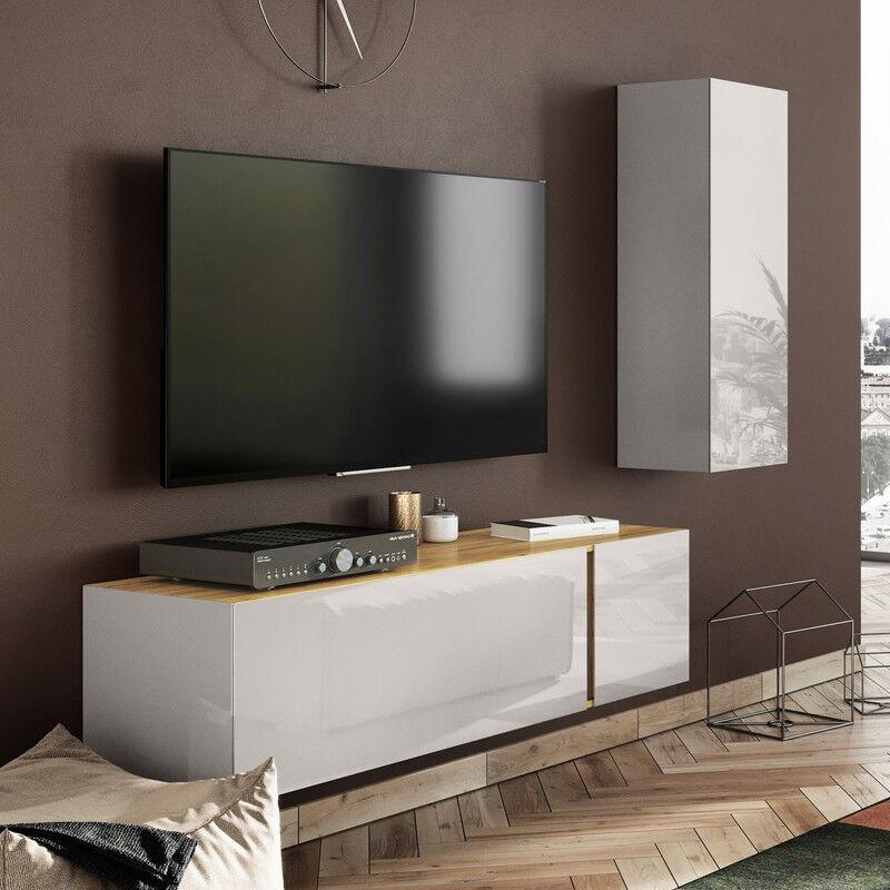 SO INSIDE Meuble TV scandinave avec façades en verre CHLOE