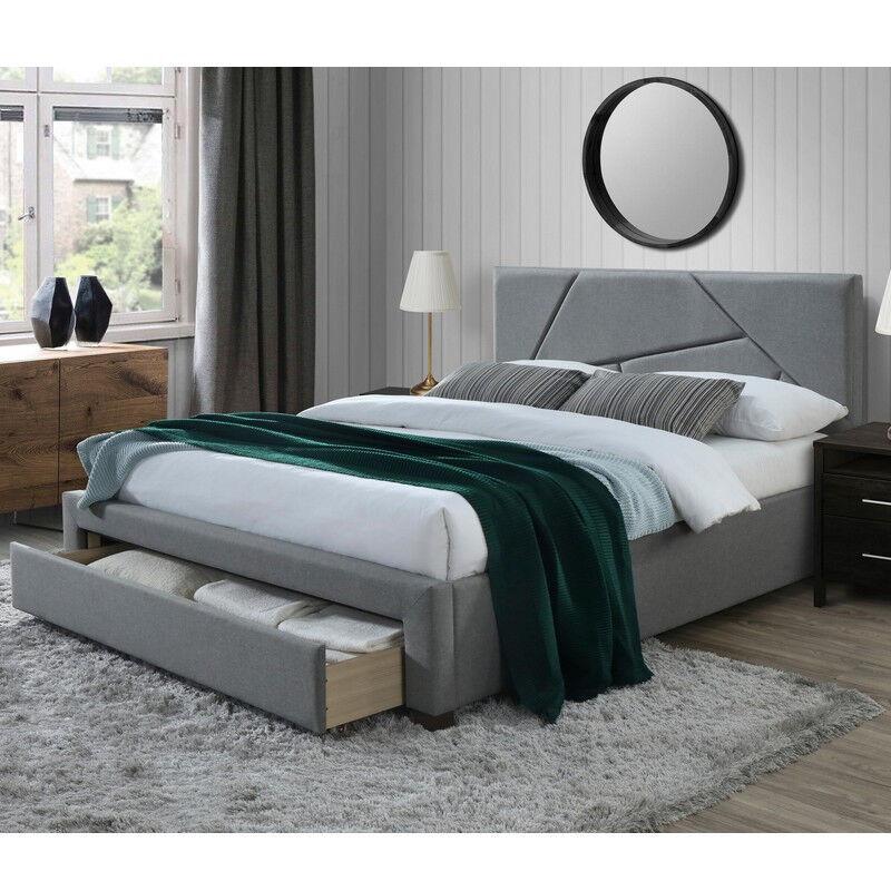 SO INSIDE Lit 160 x 200 cm gris avec structure en bois de noyer massif et tiroir de rangement Starter